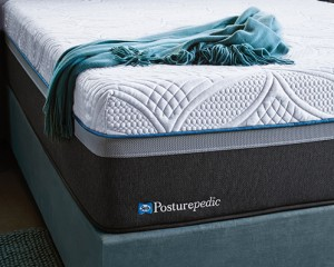 Sealy Posturpedic mattress with cover and throw blanket