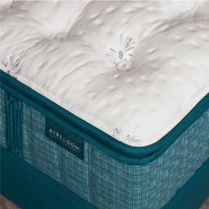 close up of a teal and white mattress