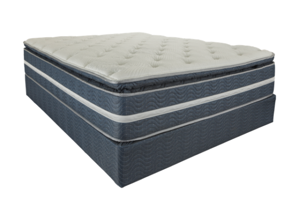 grey white and blue mattress with white top