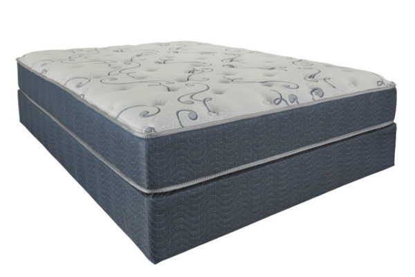 blue and whte high profile bed