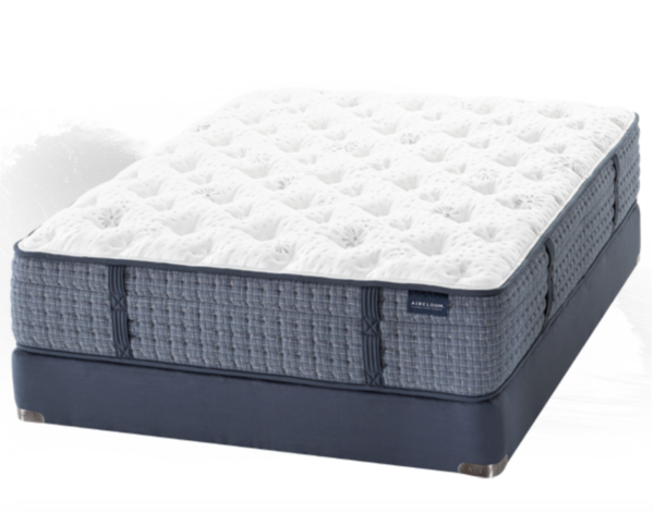 navy mattress with white plush top