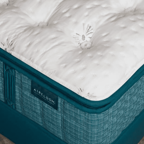 close up of teal aireloom pacifica mattress