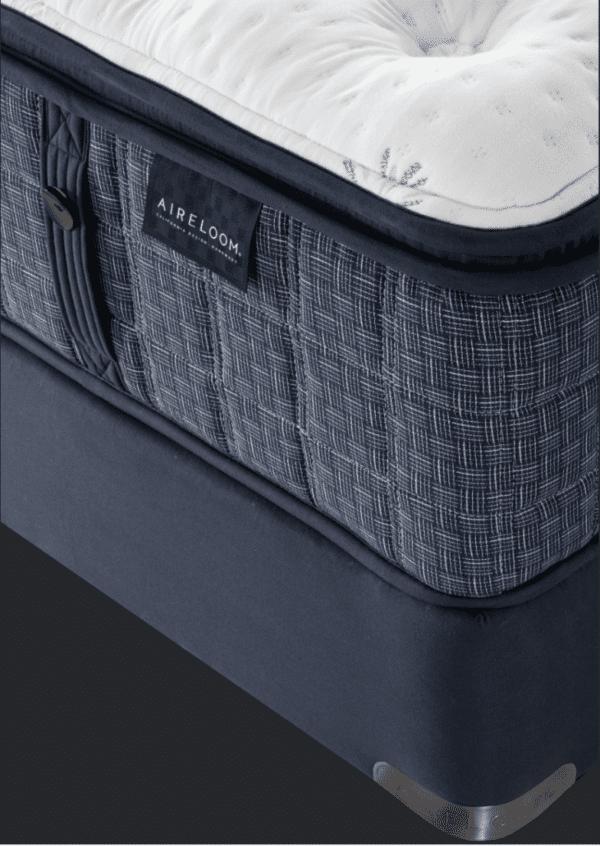 close up of dark blue aireloom san fansisco mattress
