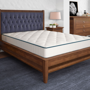 clean neat bedroom set with white mattress on wooden frame