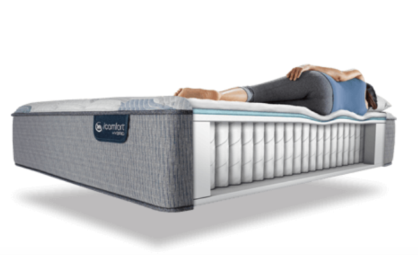 person lying down on mattress thats opened to show interior layers
