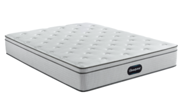 white mattress with black piping