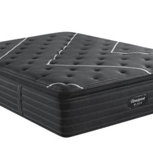 black mattress with white line design on top