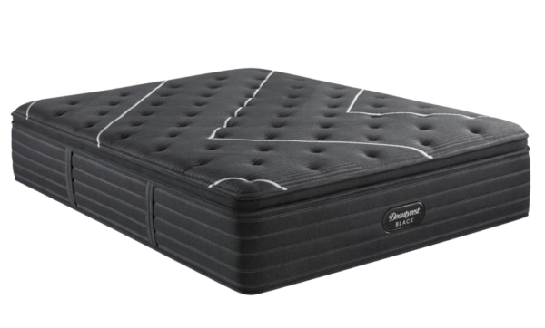 black mattress with white line design on top