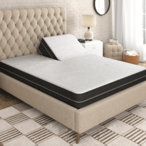 tan bedroom with beige bed frame holding s7 mattress