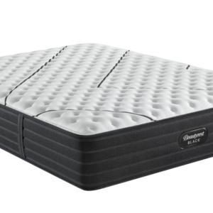 black mattress with white top and black line design