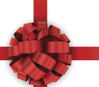 Christmas present red bow